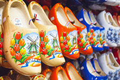 Dutch traditional shoes with paintings Stock Photos