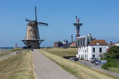 Free Dutch Traditional Windmill At Dike Near City Vlissingen Royalty Free Stock Images - 154886499