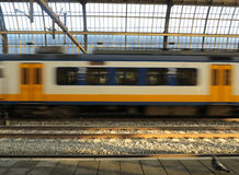 Free Dutch Train In Motion Royalty Free Stock Photography - 28140637