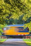 Dutch train passing a crossing Stock Images