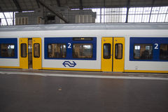 Dutch train on the station. Royalty Free Stock Photo