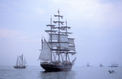 Dutch training sailship Stad Amsterdam stern view Royalty Free Stock Images