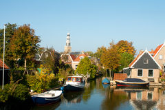 Dutch typical village. Small Dutch village in the North of Holland Hindeloopen stock image
