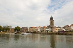 Dutch village Deventer. Near the river the IJssel Stock Image