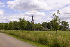 Dutch village in summer landscape Royalty Free Stock Image