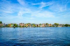 The Dutch Village of Zaandijk on the Zaan Rivier Stock Images