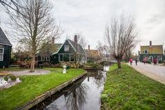 Dutch Village Zaanse Schans, Holland. Holiday in Holland - Cold raining wet winter of Dutch Village Zaanse Schans Royalty Free Stock Image