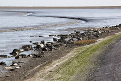 Dutch Waddenzee near village of Moddergat, Friesland Stock Image