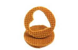 Dutch wafer isolated. On white background royalty free stock photography