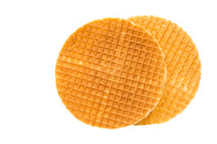 Dutch waffle. Called a stroopwafel isolated Stock Image