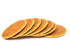 Dutch waffle called a stroopwafel Royalty Free Stock Images