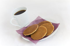 Dutch Waffles and Coffee Stock Photography