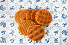 Dutch waffles on Delft Blue background Royalty Free Stock Photography