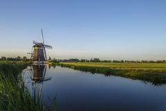 Dutch water managment with the windmills with free place for message Royalty Free Stock Photos