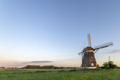 Dutch water managment with the windmills with free place for message Royalty Free Stock Photo