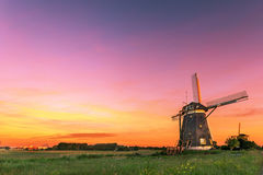 Dutch water managment with the windmills with free place for message Royalty Free Stock Photography