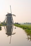 Dutch watermill with reflection Stock Photo