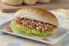 Dutch white roll with brown shrimp Royalty Free Stock Photography