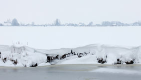 Dutch white winter landscape with snowy meadows Royalty Free Stock Photos