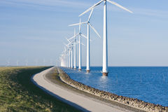 Dutch wind energy. Windmills along the (Flevoland, the Netherlands stock photography