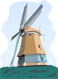 Dutch wind mill. In the middle of the field Royalty Free Illustration
