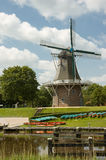 Dutch windmill. At the channel Reitdiep in Groningen, The Netherlands Royalty Free Stock Photos
