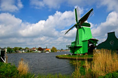 Dutch windmill. Picture of dutch windmill with nice green grass in front of them royalty free stock photos