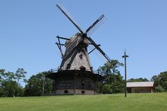 Dutch Windmill. This authentic restored windmill stands 5 stories high, although it no longer grinds Royalty Free Stock Photos