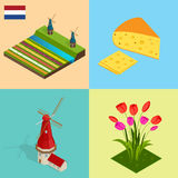 Dutch windmill and colorful tulips flowers, Netherlands. Symbols Holland cheese, windmill, tulips, flag. Flat 3d vector Royalty Free Stock Photo