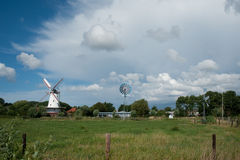 Dutch windmill in landscape Royalty Free Stock Images