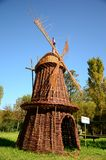 Dutch windmill made of wicker Royalty Free Stock Image