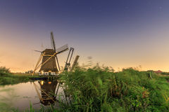 Dutch windmill at night Royalty Free Stock Images