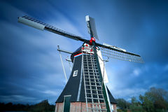 Dutch windmill over sky Royalty Free Stock Photography