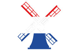 Dutch Windmill in Red White Blue Stock Images
