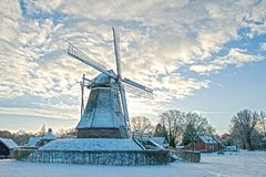 Dutch windmill scenery. royalty free stock images