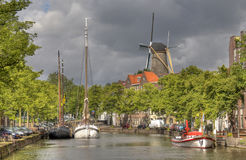 Dutch Windmill at Schiedam Stock Images