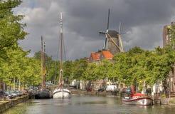 Dutch Windmill at Schiedam Stock Images