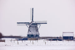 Dutch windmill. In the snow Stock Photo
