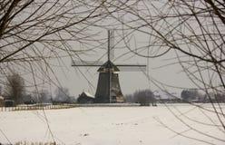 Dutch windmill. In the snow Stock Photos