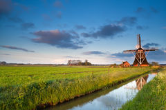 Dutch windmill at sunrise Stock Photography