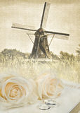 Dutch windmill wedding Royalty Free Stock Photography