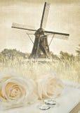 Dutch windmill wedding Royalty Free Stock Photography