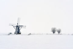 Dutch windmill in winter Stock Photography