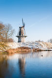 Dutch windmill in winter Royalty Free Stock Photography