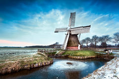 Dutch windmill in winter Royalty Free Stock Photos