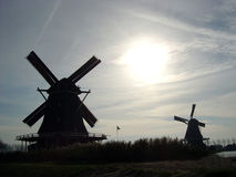 Dutch windmills. Windmills at sunset Stock Photos