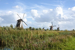 Dutch windmills. Traditional Dutch windmills at Kinderdijk, Netherlands Royalty Free Stock Photo
