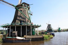 Dutch windmills. Scenery with a traditional and typical Dutch windmills Royalty Free Stock Photos