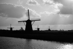 Dutch windmills Royalty Free Stock Photography