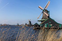 Dutch windmills with canal close the Amsterdam Stock Image